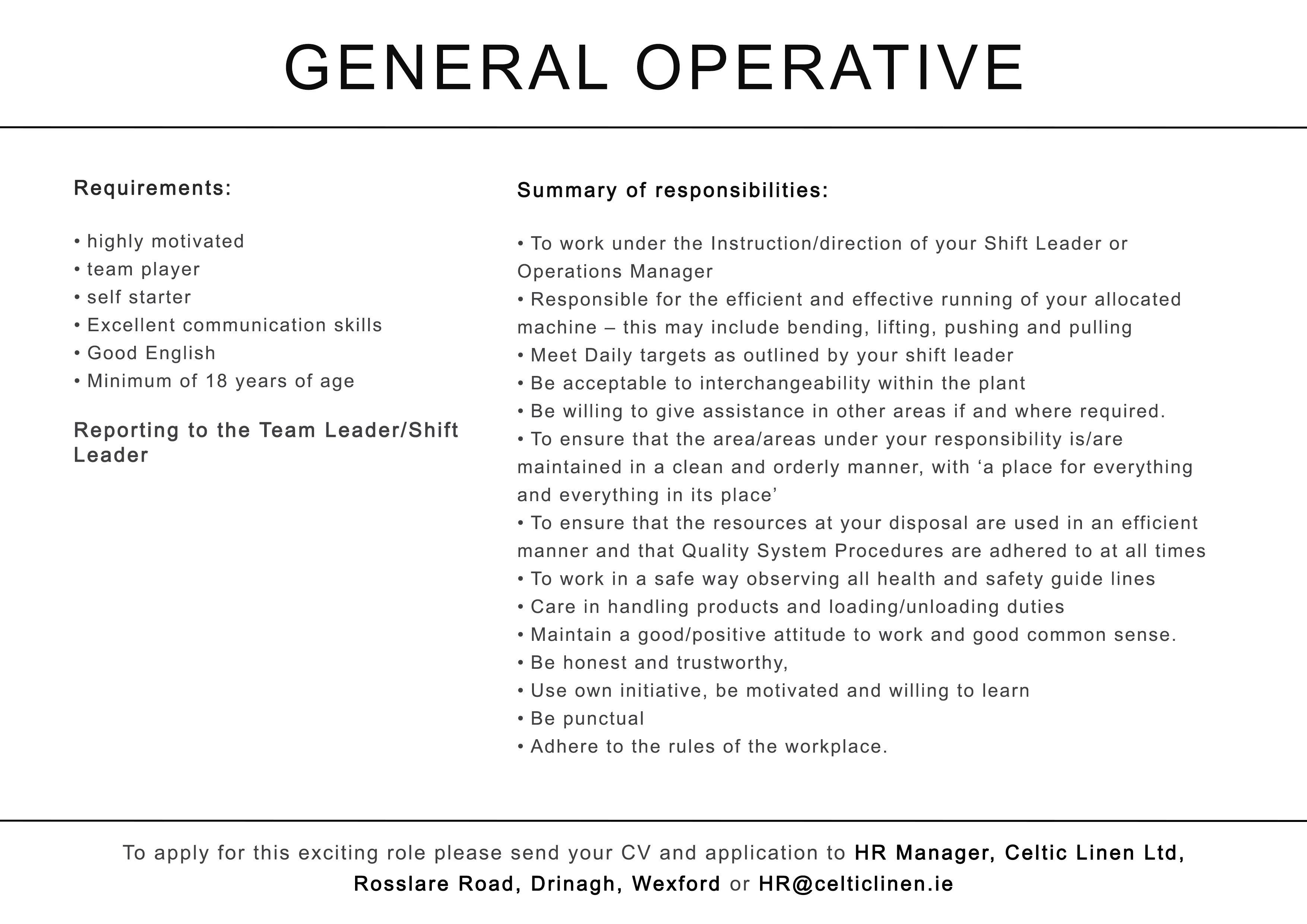 General Operative Advertisement
